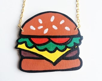 Hamburger Necklace - Hand Painted Hand Sawed Wooden Cartoony Cheeseburger Necklace