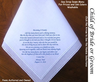 Child of the Bride or Groom  Gift Hankie 1402 Sign & Date Free!  5 Wedding Hankerchief Styles and 8 Ink Colors. Sons' or Daughters'