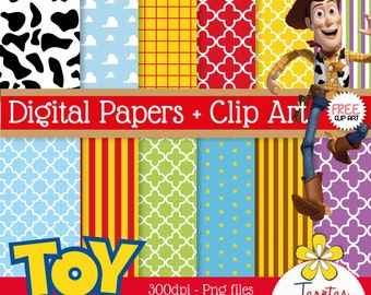 Papers digital printable Toy Story + Clip Art Goody - immediate download - PNG - Scrapbook