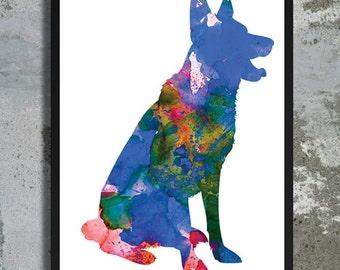 German Shepherd Watercolor Print Deutscher Schäferhund Dog Art Dog Watercolor Home Decor Watercolor painting Dog Illustration Nursery Art