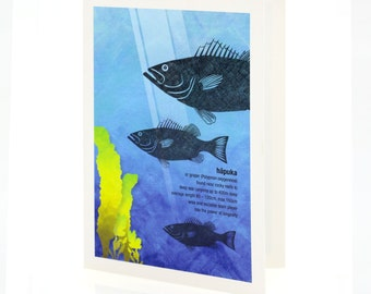 Hāpuka illustration. A6 greeting card with envelope – New Zealand native fish series.