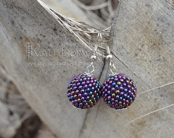 Beaded ball earrings Seed beads earrings Violet ball earrings Blue earrings Peyote earrings Beaded bead earrings Round earrings