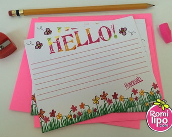 Set of 10 girl personalized note cards with matching envelopes, back to school, girl gift, girl stationary, set of note cards, personalized