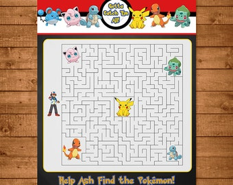 Pokemon Maze Activity Red & White - Pokemon Party Favors - Pokemon Party Supplies - Pokemon Printables