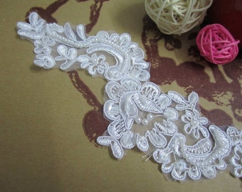 A pair of Beaded Lace Applique, DIY Lace Accessories, Wedding Accessories, Hair Accessories