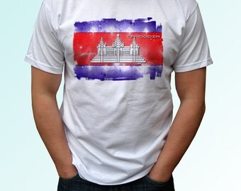 Cambodia Flag - new white t shirt country print design 100% cotton - Mens, womens, kids & baby bodysuit