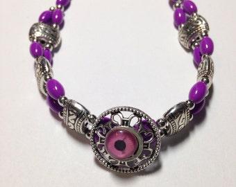 Purple Beaded Tibetan Silver Bracelet