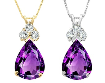 Tousi Jewelers Amethyst Necklace Pendant - 1.50 ct in Real Solid 14 k Gold w-3 Accent white sapphire- Nice February Birthstone for Her