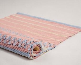 Light Salmon, Lemon Light,blue, Weaving On The Loom, Floor Rug,