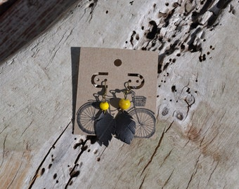 BRIGHT YELLOW fun pair of upcycled bike tube earrings that will charm you, black, rubber, ultra light and resistant  - Model SB052