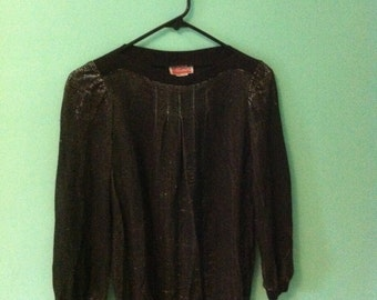 Vintage 80's sheer & silver shimmer fabric top