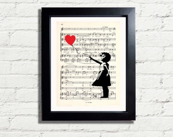 Banksy Art Girl & Heart Balloon Graffiti Poster Wall Art Print INSTANT DIGITAL DOWNLOAD A4 Printable Pdf Jpeg Image Ideal Music Lovers Gift