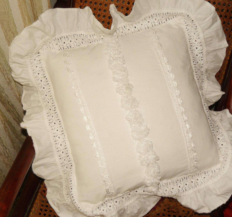 Shabby Chic Pillows White : White shabby chic pillow