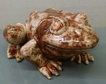 Yadro Print Frog--Hand-Painted--Glazed Ceramic Bisque--Home-Patio-Garden Decor--Seasonal-Year Round Usage