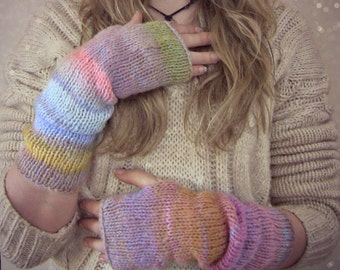 Boho Knit Fingerless Gloves Arm Warmers in Pastel