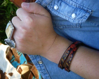 Vintage Tooled Flower Leather Wrap Bracelet Boho
