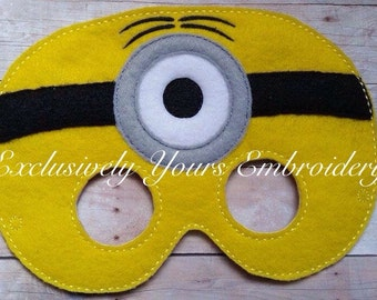One Eyed Yellow Monster Children's Mask  - Costume - Theater - Dress Up - Halloween - Face Mask - Pretend Play - Party Favor