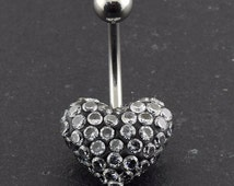 Multi Jeweled Genuine CZ Heart Belly Button Rings.