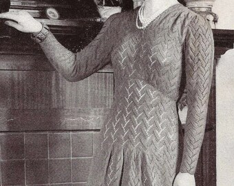 Knitted Dress ... 1940's Evening Dinner Dress ... Vintage PDF Knitting Pattern ... Formal Dress ... Dinner, Party, Theatre, Wedding
