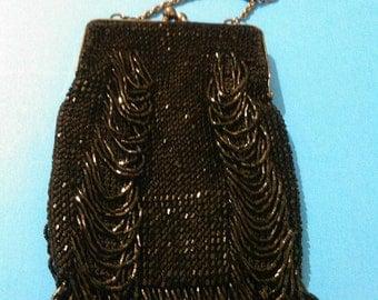 La Regale Black Beaded Small Evening Shoulder Purse