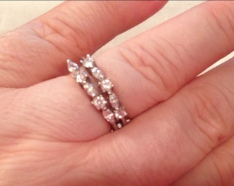 Sellling TWO Sterling Silver Rhinestone Stackable Rings Stamped Two Rings Selling Together