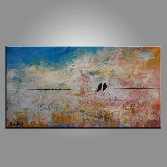 Wedding Gift Canvas Painting : Oil Painting, Wall Art, Wedding Gift, Bird Painting, Canvas Painting ...
