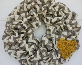 Burlap Wreath / Chevron Wreath / Yellow and Gray Wreath / Wreath / Everyday Wreath /All Year Wreath / Fall Wreath / fall burlap wreath