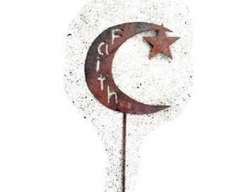 Custom Made FAITH STAR with MOON  Rusted Metal Yard Art on a Stake