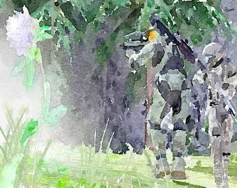 Halo series (10) digital Watercolor Poster Print Art