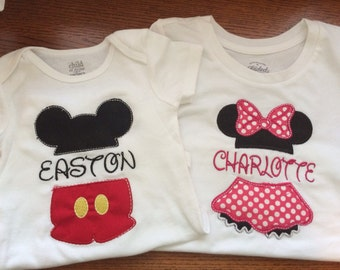 Micky Mouse and Minnie Mouse Split Applique