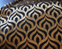 Black and Gold Silk Brocade Fabric Motifs Weaving - Indian Silk, Dresses Fabric - Pure Banarasi Silk Fabric by Yard