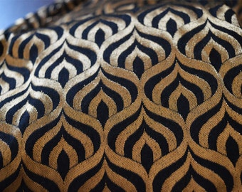 Black and Gold Silk Brocade Fabric Motifs Weaving - Indian Silk, Dresses Fabric - Banarasi Art Silk Fabric by the Yard