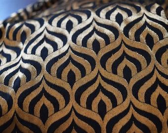 Black and Gold Brocade Fabric Motifs Weaving - Dresses Fabric - Banarasi Fabric by the Yard
