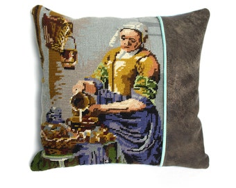 Get Milk throw pillow cover with vintage embroidery