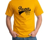 Papa Since 2014 T-Shirt T-Shirt Tees Mens Gift Present Fathers Day Papa Tshirt Gift ideas for men