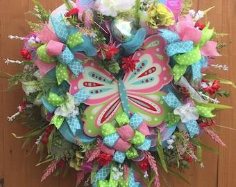 Whimsical Butterfly Wreath, Deco Mesh Wreath, Summer Wreath, Spring Wreath, Door Wreath, Butterfly Wreath