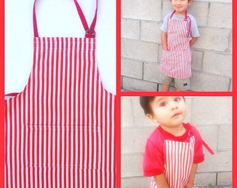 Red and white candy stripes apron Kids apron toddler apron playtime painting preschool apron cooking mommy's helper