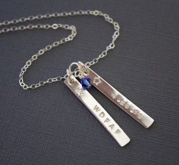 18th Birthday Cz T Bar Sterling Silver Heart Bracelet Can: Two Silver Vertical Necklace Personalized Bar By MiyulaStudio