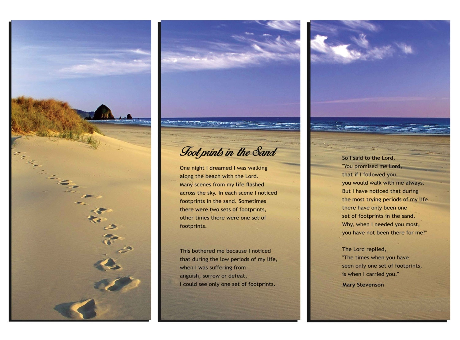 Footprints in the sand poem canvas wall art framed huge for 3 by 3 prints