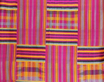 "Akan Ashanti Tribal Kente Cloth Royal Sacred Textile Fabric Cloth of Kings 45""X 84"" African"