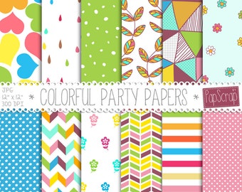 "Colorful digital paper : ""Colorful Party Papers"" colorful party paper for scrapbooking, cards, invites, digital scrapbook paper"