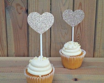 Heart Cupcake Toppers - party supplies - cake decorations - wedding - cake topper