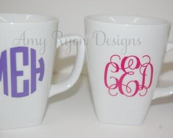 Monogrammed 12 oz Coffee Mug, Personalized Coffee Mug, Monogrammed Coffee Cup, Personalized Coffee Cup, Monogram Coffee Mug