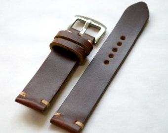 Brown Horween chromexcel leather handmade watch strap  16mm, 17mm, 18mm, 19mm, 20mm, 21mm, 22mm.