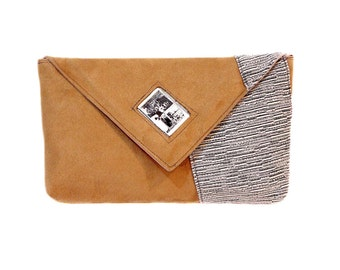 70%off - Beige clutch bag with Audrey Hepburn picture under glass application