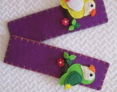 Parrot bookmark, Felt book marker, Handmade, Bookworm gift, School accessories, Teacher gift, Children gift, Feltie, Purple