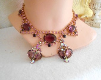 Gorgeous 1950's Purple/Pink Rhinestone Necklace and Earrings