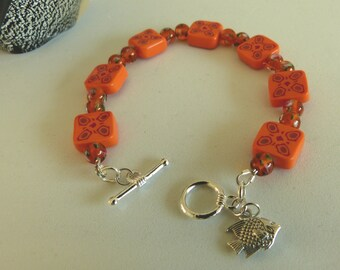 Orange Handmade Beads Bracelet with Fish Charm OOAK