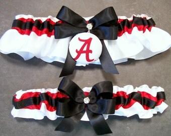 Handmade Black and Scarlet Wedding Garter Set Bridal Garter Set, with University of Alabama™ Fabric Covered Button Embellishment #C/02-C