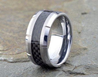 Tungsten Wedding Band, Anniversary Ring, Engagement Band, Men's Tungsten Ring, Carbon Fiber inlay, Tungsten Wedding Ring, grooved all around